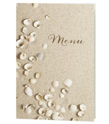 Carte de menu romantique coquillages