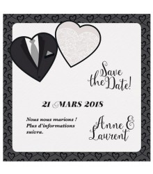 Save the date romantique robe et smoking