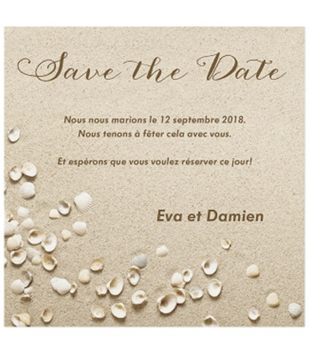Save the date tendance coquillages