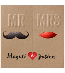 Faire-part chic triptyque Mr & Mrs
