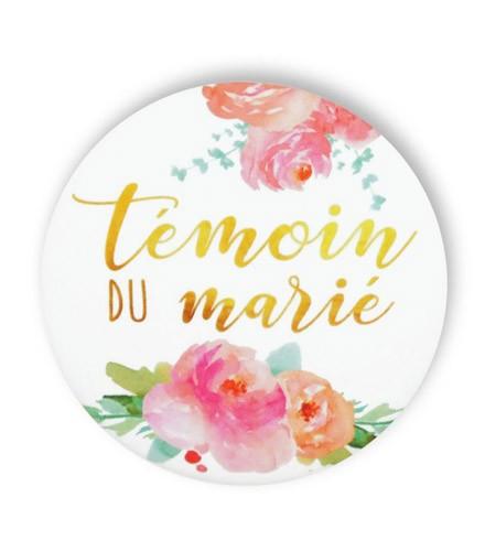 Badge déco fleurs témoin du marié