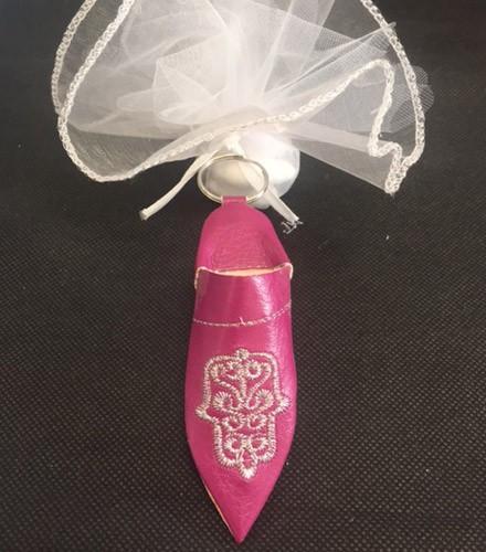 Porte-clés mariage babouche fuchsia