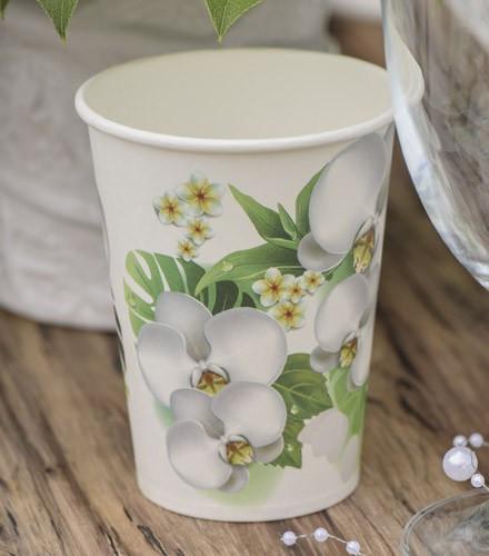 Gobelets en carton déco orchidée