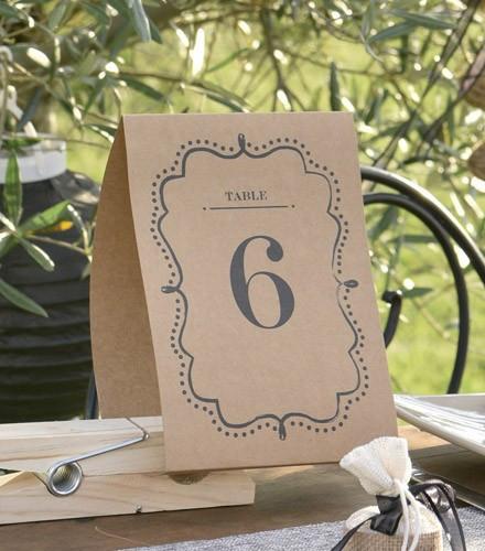 Marque-tables pas chers en kraft numérotés de 1 à 10