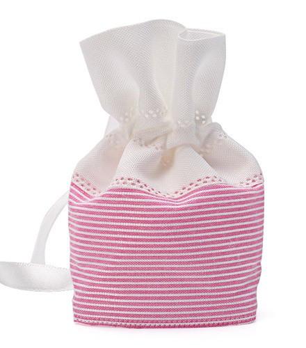 Pochon à dragées rayé rose et blanc