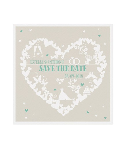 Save the date pas cher coeurs