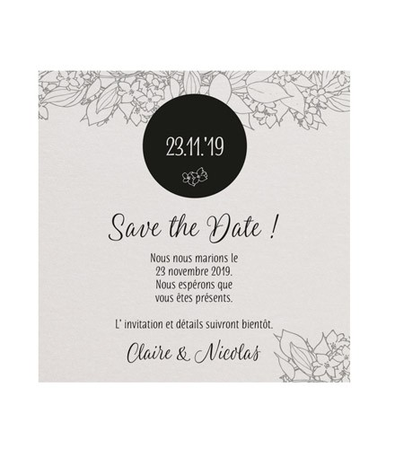 Save the date nacré avec motif floral