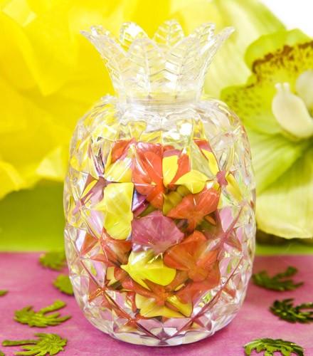 Contenant à dragées transparent ananas
