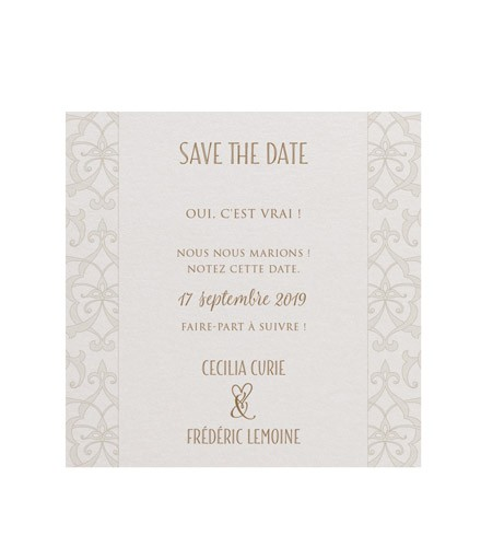 Save the date mariage baroque nacré