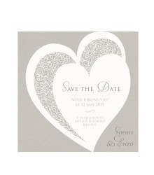 Save the date romantique cœurs et arabesques