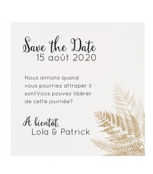 Save the date tropical doré