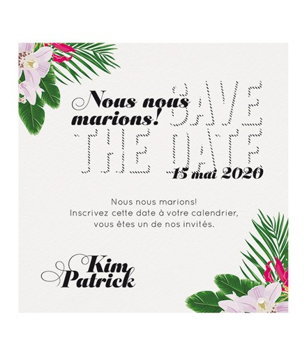 Save the date fleurs tropicales