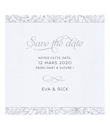 Save the date chic motif naturel argent