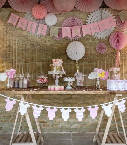 Guirlande baby shower fanions rose et or