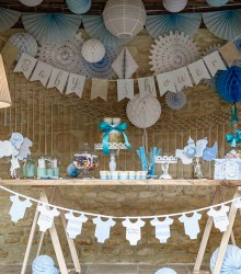 Guirlande baby shower fanions bleu et or