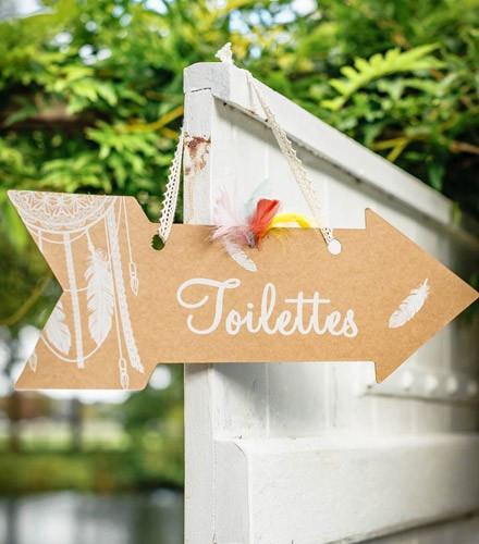 Pancarte fléchée toilettes
