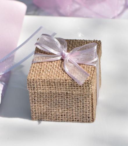 4 boîtes à dragées naturelle cube en jute