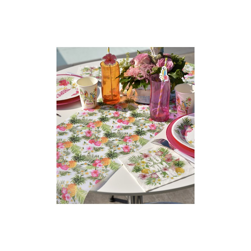 Chemin de table jetable style tropical en tissu drag e d 39 amour - Chemin de table en papier jetable ...
