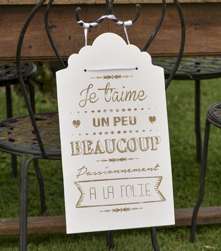 Pancarte mariage je t'aime