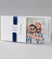 Faire-part mariage photo blanc ruban bleu