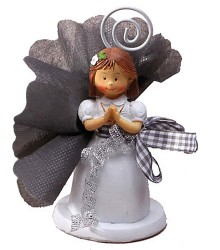 Figurine communion fille porte-nom