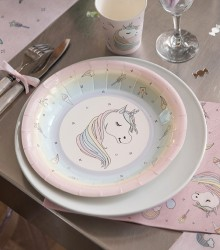 10 assiettes jetables licorne rose