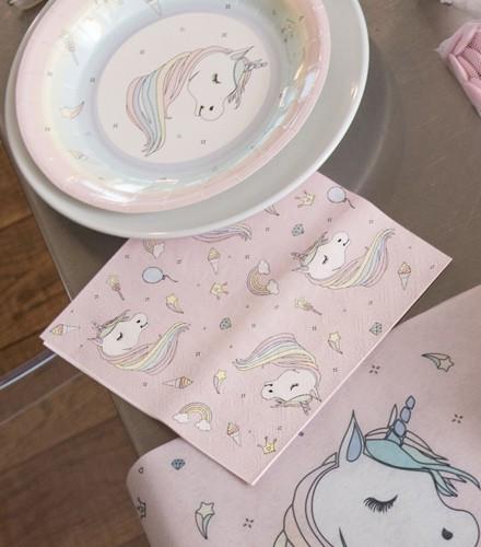 20 serviettes en papier 3 plis licorne rose