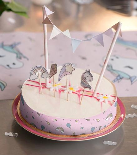 6 Décorations De Gâteau Anniversaire Fille Licorne Rose