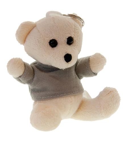 Porte-clés baptême bébé ourson en peluche blanc