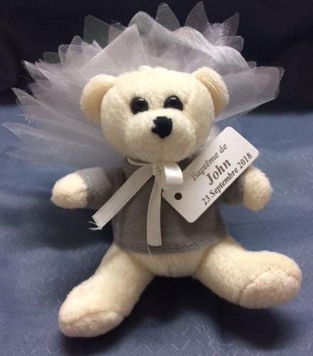 Porte-clés baptême bébé ourson en peluche blanc produit fini