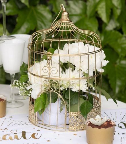 Tirelire mariage chic cage à oiseau or en métal