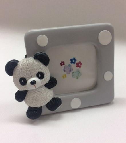 Cadre photo baptême panda carré multicolore en résine