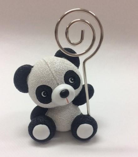 Porte-nom baptême panda noir et blanc en résine