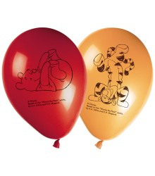 8 ballons gonflables Winnie l'ourson rouge et orange
