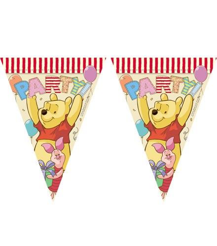 Guirlande anniversaire Winnie l'ourson avec fanions en papier