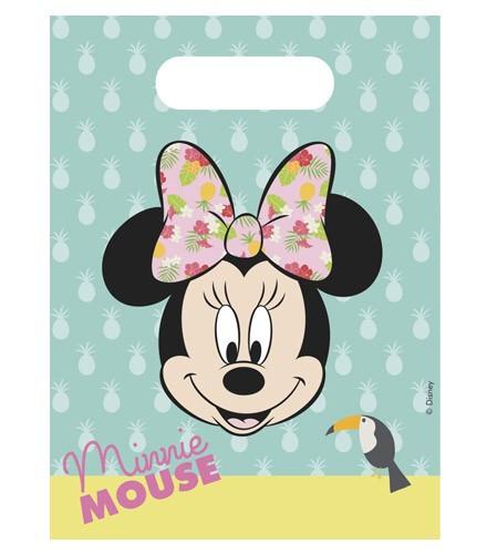 6 sacs cadeau plastique Minnie