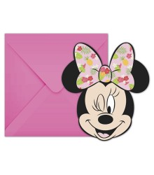 6 cartes d'invitation Minnie + enveloppe