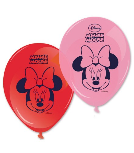 8 ballons gonflables Minnie rouge et rose
