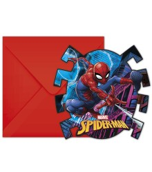 6 cartes d'Invitation Spiderman + enveloppes