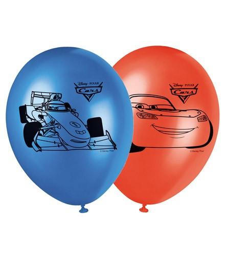 8 ballons gonflables Cars bleu et rouge