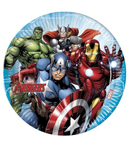 8 assiettes jetables en carton Avengers
