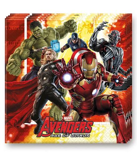 16 serviettes jetables en papier Avengers