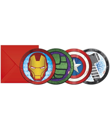 6 cartes d'invitation Avengers + enveloppes