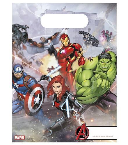 6 sacs cadeau plastique Avengers