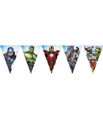 Guirlande anniversaire Avengers avec fanions en papier