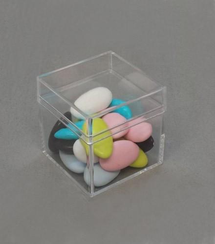 12 contenants transparents à dragées cube
