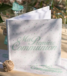Livre d'or Communion corail/mint en papier