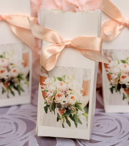 6 boîtes à dragées mariage carton bouquet de la mariée