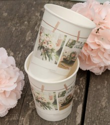 10 gobelets jetables carton mariage chic