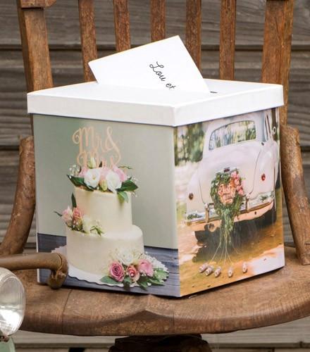 Tirelire mariage chic photos en carton